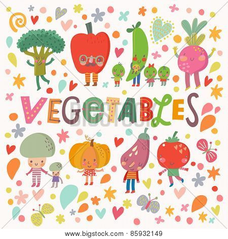 Lovely healthy food concept card with fresh vegetables in vector. Tasty mushrooms, bell pepper, pumpkin, eggplant,  broccoli, beet, pear, tomato and carrot in funny cartoon style