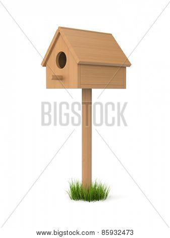 Birdhouse isolated on white. May be inhabited by birds