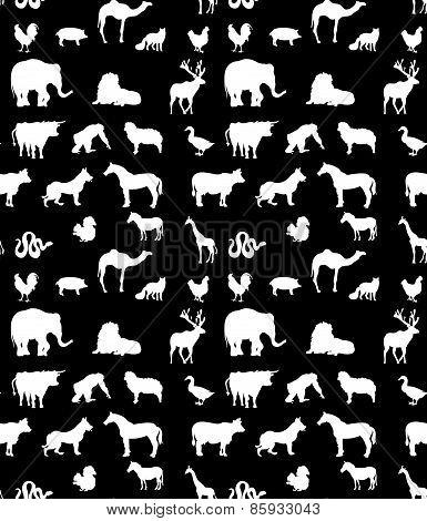 Seamless animals  silhouettes monochrome pattern