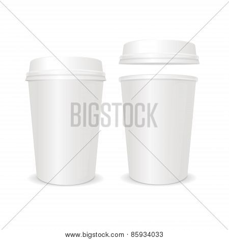 Vector empty coffee paper cup with lid set.