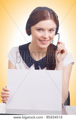 Smiling Cheerful Young Support Phone Operator Hold A Banner