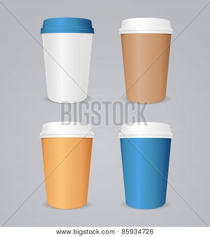 Vector colorful coffee paper cup set.