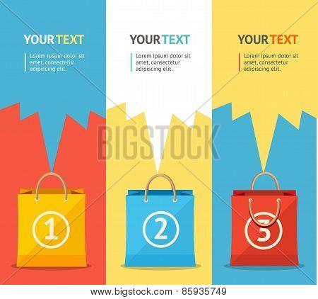 Vector paper bag sale card, option banner. Flat Design