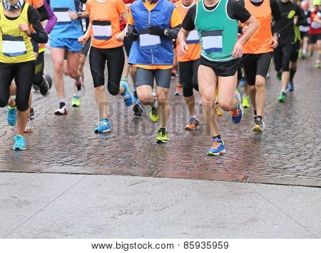 Runners During Marathon And It Is Raining