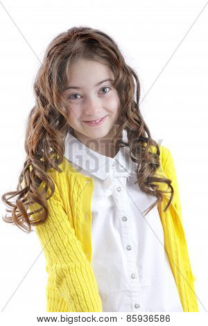 Portrait of girl with long hair on white background
