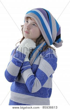 Girl in winter clothing