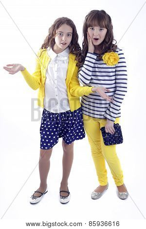 Two girls white background