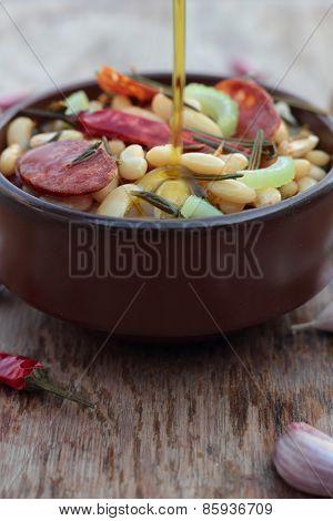 Beans and chorizo.