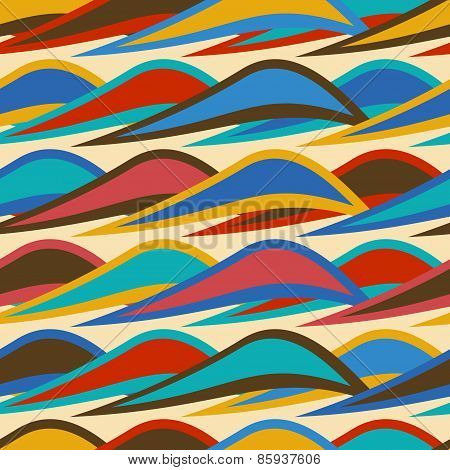 Vintage Background Seamless Pattern With Colorful Waves