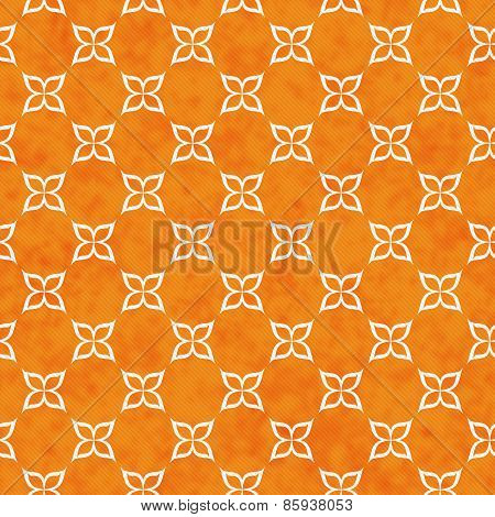 Orange And White Flower Symbol Tile Pattern Repeat Background
