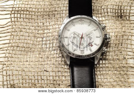 Silver Watch With Black Leather Belt