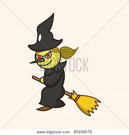Bizarre Monster Theme Witch Elements Vector,eps