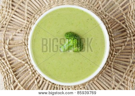 Homemade broccoli cream soup vegetarian recipe. Top view