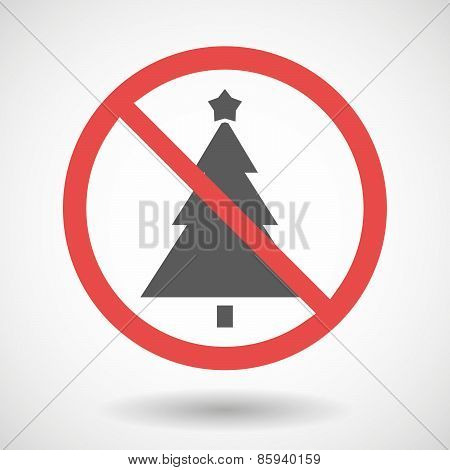 Forbidden Signal With A Christmas Tree