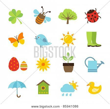 Collection of vector icons representing spring, nature and gardening