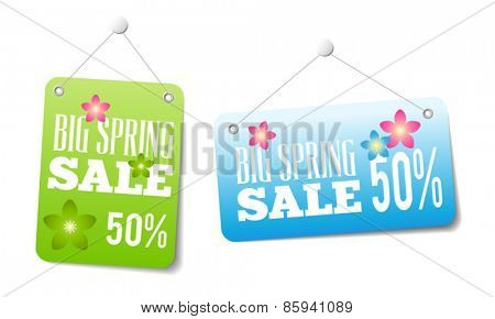 Spring sales labels for web or print or shop window decoration. Can be used as price tags.