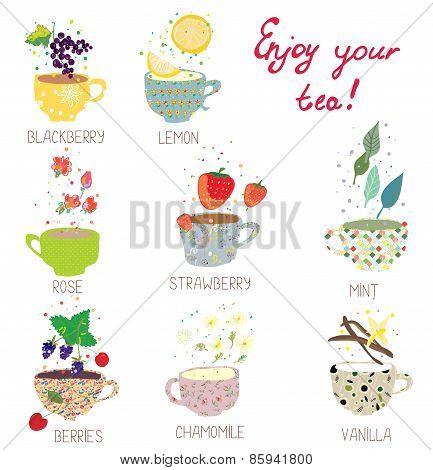 Cups with tea set - berries lemon mint vanilla