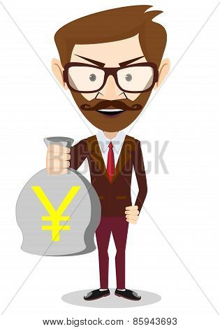 Businessman holding a bag of money, vector illustration
