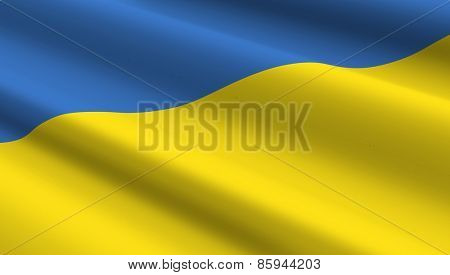Ukrainian flag background. Computer generated 3D photo rendering.