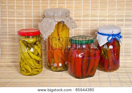Ecologic Chilli Peppers Paprika Preserved  Glass Pots Group