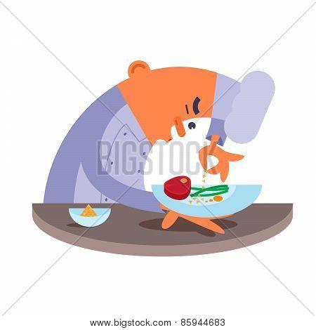 Cartoon chef carefully prepares steak