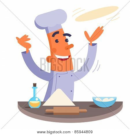 Cartoon chef making pizza dough