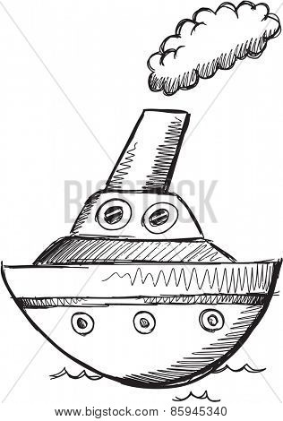 Doodle Sketch Big Boat Vector Illustration Art