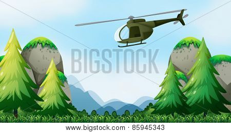 Helicopter flying over the national park