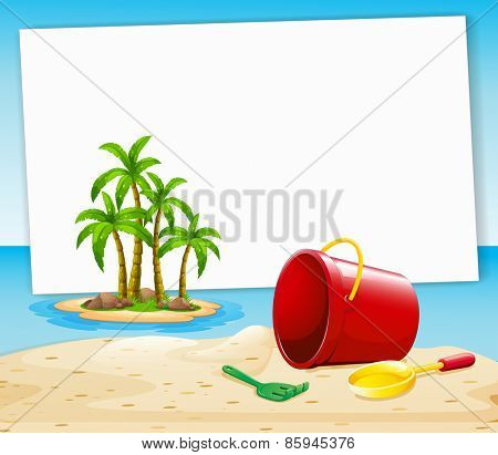 Blank banner with beach and island view background