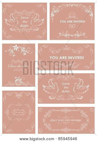 Vintage templates for wedding invitations