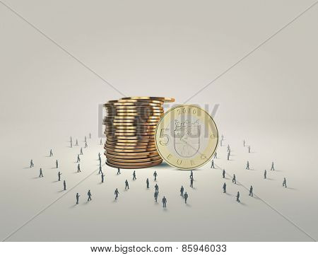 Business people and macro stack of euro coins