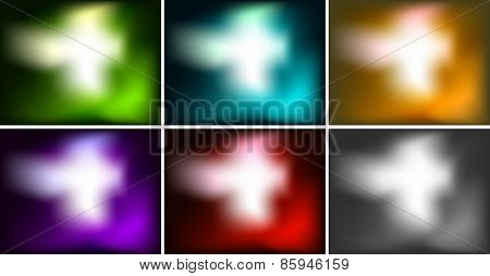 Six design of blur background with different colors