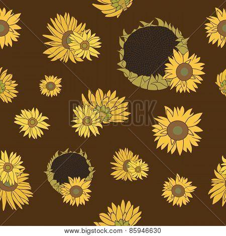 Sunflower vector seamless pattern on the dark background