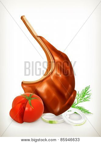 Grilled meat rib with vegetables, vector icon