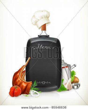 Menu, grilled meat ribs with vegetables vector