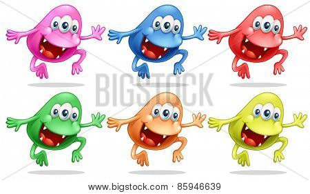 Different color monsters jumping up