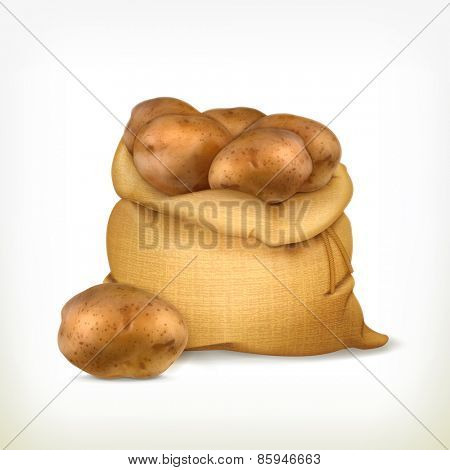 Sack of potatoes, vector icon