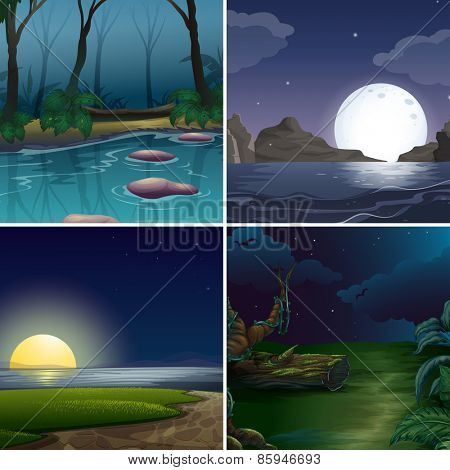 Four night scenes of the forest and lake