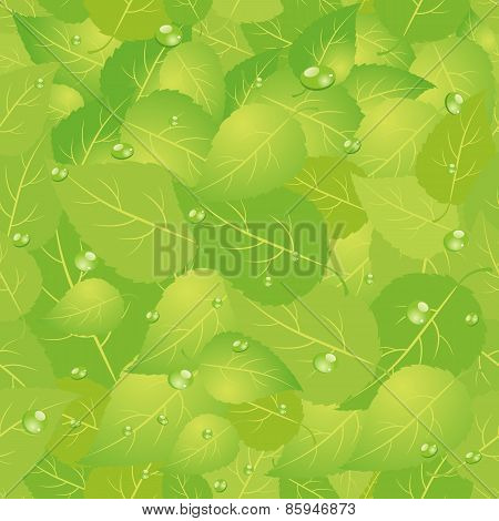 Green leaf seamless pattern.