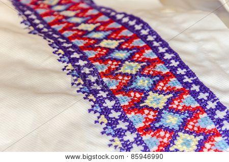 Detail Of Embroidery For The Ukrainian National Costume, Ukrainian Men's Dress Shirt