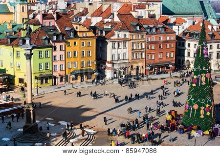 Warsaw, Poland - Fabruary 01, 2015: Castle Square with with a Christmas tree in Warsaw, Poland