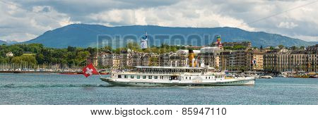 Geneve, Switzerland - 11 May 2014: ship in Lake Geneva, Switzerland