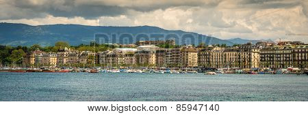 Geneve, Switzerland - 11 May 2014: panoramic  view of the modern embankment and the center of Geneva, Switzerland