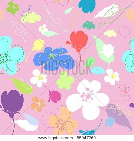Seamless colored Flowers In The Thumbnail Style