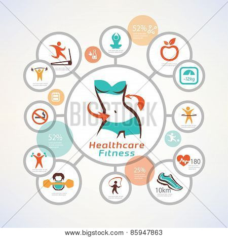 Fitness And Body Care Infographics, Icons Collection