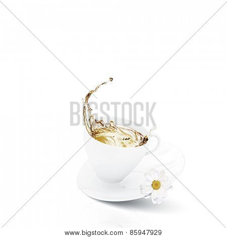 White cup of tea with chamomile flower