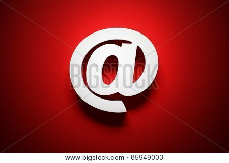 Email symbol on red background concept for internet, contact and e-mail address