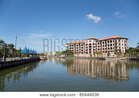 MALACCA, MALAYSIA - CIRCA JANUARY, 2015: Casa Del rio Melaka - 5-star Luxury Boutique hotel in Melaka built on the bank of the Melaka River, within sight of the main historical sites of Malacca.
