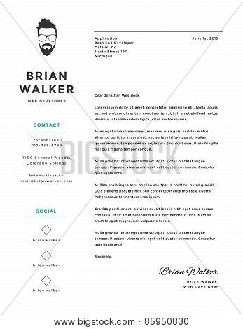 Creative and minimalistic personal vector cover letter template
