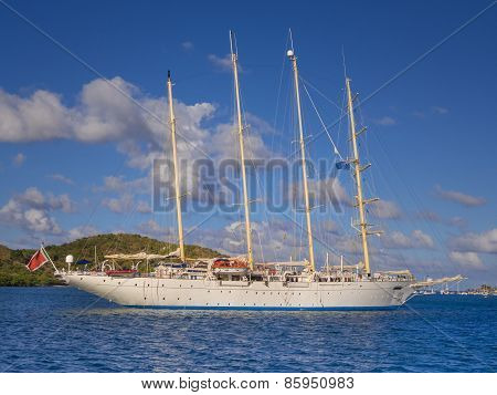 Four masted sailing ship